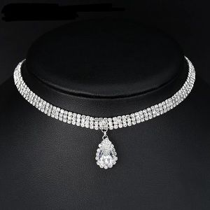 Triple Row Crystal Choker and Pendant Necklace